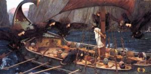 Ulysses meets the Sirens. Painting by Waterhouse.