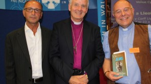 Rev Peter Walker right, Dr Barry Morgan, centre and ali anwarfrom the Adopt a Poet Scheme, left, at Peter's inauguration as Poet of the Church.