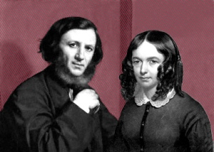 by Michele Gordigiani,painting,1858 Robert Brwoning and his more famous wife Elizabeth Barret Browning