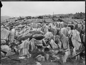Takaka Hill, showing marble outcrops. Photograph taken ca 1900s by Louis John Daroux.(http://mp.natlib.govt.nz/detail/?id=67467).